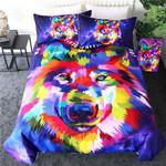 Watercolor Wolf Bedding Set Bedroom Decor