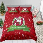 Red Stripes Snowflake Merry Christmas Printed Bedding Set Bedroom Decor