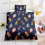 3d Cartoon Rocket In Space Bedding Set Bedroom Decor