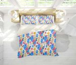 3d Blue Yellow Pink Floral Leaves Branch Bedding Set Bedroom Decor