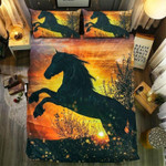 Gold Fireworks Horse Printed Bedding Set Bedroom Decor