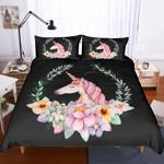 3d Black Succulents Unicorn Floral Bedding Set Bedroom Decor
