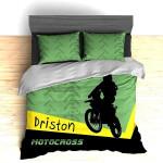 Green And Yellow Driston Motocross Bedding Set Bedroom Decor