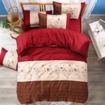 Red Rose Brown And Red Printed Bedding Set Bedroom Decor