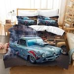 3d Blue Muscle Car Comfortable Bedding Set Bedroom Decor