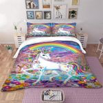 Once Upon A Time Unicorn Rainbow Printed Bedding Set Bedroom Decor
