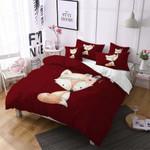 Small Cute Fox Sitting Red 3D Bedding Set Bedroom Decor