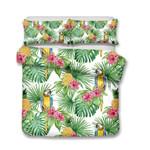 Pineapple Tropical Leaf Parrot Printed Bedding Set Bedroom Decor