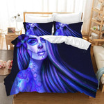 3d Blue Skull Makeup Bedding Set Bedroom Decor