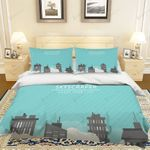 3d Blue Stripes Building City Skyscraper Bedding Set Bedroom Decor