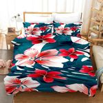 3d Bright Colored Red Flowers Bedding Set Bedroom Decor