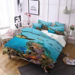 Sea Turtle Under Ocean World Printed Bedding Set Bedroom Decor