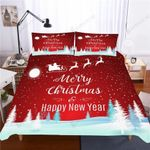 2020 Christmas Santa Claus Bedding Set Bedroom Decor