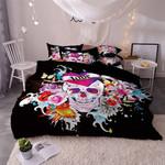 Sugar Skull Watercolor Printed Bedding Set Bedroom Decor