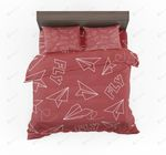Paper Airplane And Fly Red Designed Bedding Set Bedroom Decor