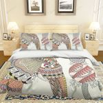 3d Cartoon Elephant Mandala Bedding Set Bedroom Decor