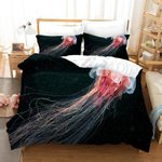 3d Black Red Jellyfish Bedding Set Bedroom Decor