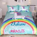 Unicorn Believe Miracles Rainbow Printed Bedding Set Bedroom Decor