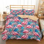 3d Flamingo Blue Leaf Bedding Set Bedroom Decor