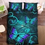Blue Purple Ombre Butterfly Printed Bedding Set Bedroom Decor