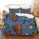 3d Dark Blue Raccoon Hedgehog Beer Fox Bedding Set Bedroom Decor
