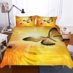Golden Butterfly Un Flower Printed Bedding Set Bedroom Decor