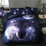Wolf Face Purple Staring You Printed Bedding Set Bedroom Decor
