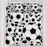 Multi Soccer Black White Bedding Set Bedroom Decor