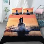 Water Horse Running Sunset Pattern Bedding Set Bedroom Decor