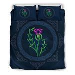 Thistle Celtic Scotland Dark Blue Bedding Set Bedroom Decor