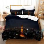3d Black Tokyo Tower City Night Bedding Set Bedroom Decor