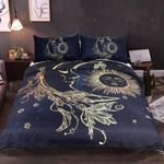 Sun And Moon Gold Pattern Printed Bedding Set Bedroom Decor