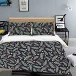 3d Black Green Floral Leaves Bedding Set Bedroom Decor
