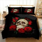 Red Rose Skull Printed Bedding Set Bedroom Decor