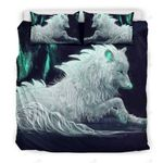 White Wet Wolf Bedding Set Bedroom Decor