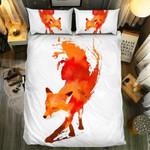White Art Fox Printed Bedding Set Bedroom Decor
