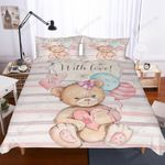 Teddy Bear Cute Pink Bedding Set Bedroom Decor
