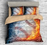 3d Baseball Flame Ice Bedding Set Bedroom Decor