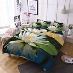 White Lotus Peace Printed Bedding Set Bedroom Decor