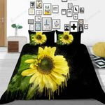 Sunflower Artistic Cover By Black Over Printed Bedding Set Bedroom Decor