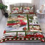 Dog Red Truck Christmas Bedding Set Bedroom Decor