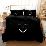 3d Cartoon Smile Black Bedding Set Bedroom Decor