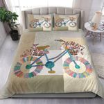 Colorflu And Flower Bicycle Shaped Bedding Set Bedroom Decor