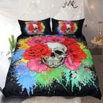 Floral Skull Splash Watercolor Skullflow Printed Bedding Set Bedroom Decor