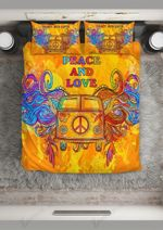 Car Hippie Peace And Love Printed Bedding Set Bedroom Decor