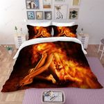 3d Fire Fox Girl Bedding Set Bedroom Decor
