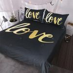 Gold Love 3D Printed Bedding Set Bedroom Decor