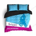 Motocross Bridget Blue And Pink Bedding Set Bedroom Decor