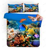 3d Blue Seabed Fish Coral Bedding Set Bedroom Decor