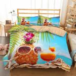 Happy Summer Beach Pineapple And Drink Juice Bedding Set Bedroom Decor